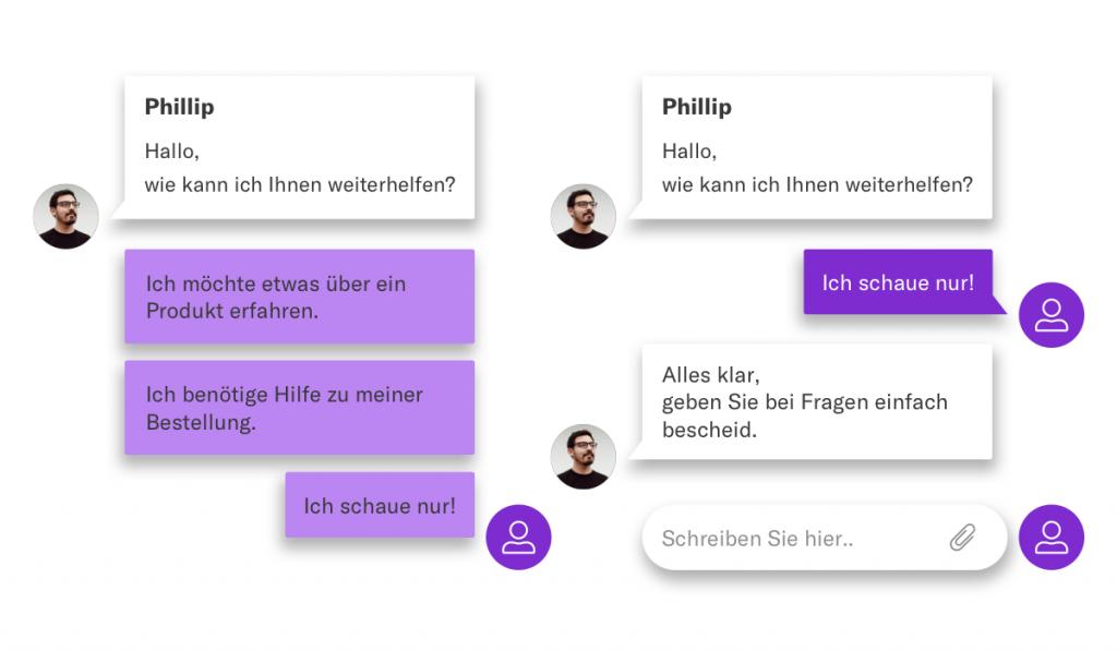 Chatbots in Chat-Systemen bieten dem Nutzer Auswahl für den ersten Kontakt.