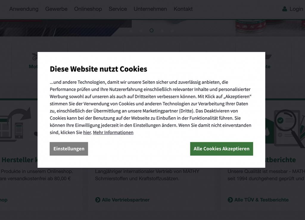 Cookie-Banner mit Wahl, alle Cookies direkt zu akzeptieren