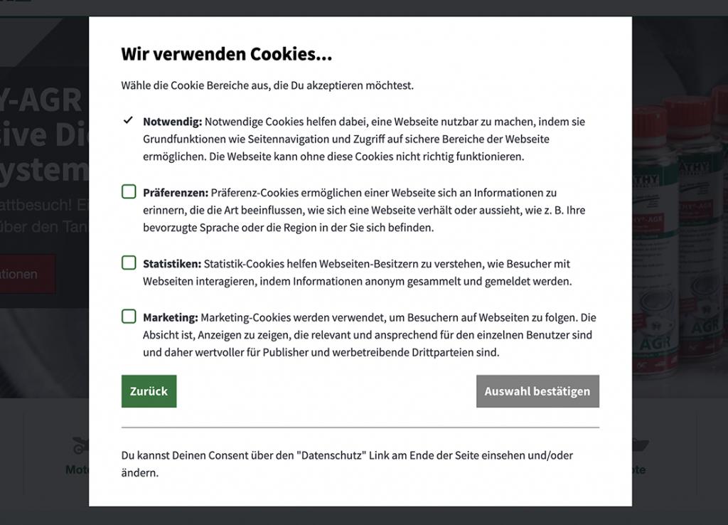 Cookie-Banner, mit Wahl der individuellen Präferenzen