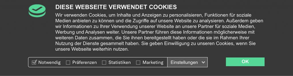 Cookie-Banner mit wenig Einwilligungen
